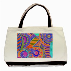 Pop Art Paisley Flowers Ornaments Multicolored 3 Basic Tote Bag (two Sides)