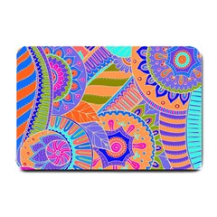 Pop Art Paisley Flowers Ornaments Multicolored 3 Small Doormat