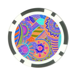 Pop Art Paisley Flowers Ornaments Multicolored 3 Poker Chip Card Guard