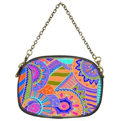 Pop Art Paisley Flowers Ornaments Multicolored 3 Chain Purses (one Side)