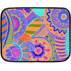Pop Art Paisley Flowers Ornaments Multicolored 3 Double Sided Fleece Blanket (mini)
