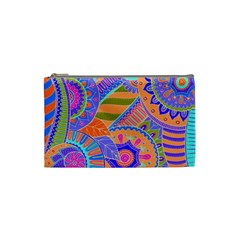 Pop Art Paisley Flowers Ornaments Multicolored 3 Cosmetic Bag (small)