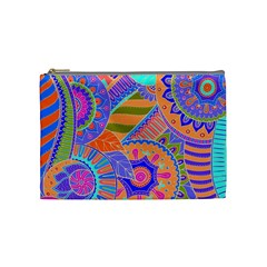 Pop Art Paisley Flowers Ornaments Multicolored 3 Cosmetic Bag (medium)