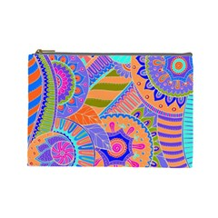 Pop Art Paisley Flowers Ornaments Multicolored 3 Cosmetic Bag (large)