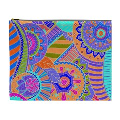 Pop Art Paisley Flowers Ornaments Multicolored 3 Cosmetic Bag (xl)
