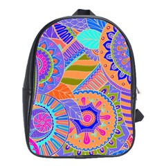 Pop Art Paisley Flowers Ornaments Multicolored 3 School Bag (large)