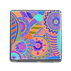 Pop Art Paisley Flowers Ornaments Multicolored 3 Memory Card Reader (square 5 Slot)