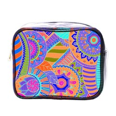 Pop Art Paisley Flowers Ornaments Multicolored 3 Mini Toiletries Bags