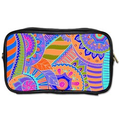 Pop Art Paisley Flowers Ornaments Multicolored 3 Toiletries Bags 2 Side