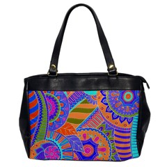 Pop Art Paisley Flowers Ornaments Multicolored 3 Office Handbags