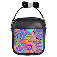 Pop Art Paisley Flowers Ornaments Multicolored 3 Girls Sling Bags
