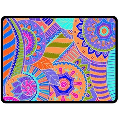 Pop Art Paisley Flowers Ornaments Multicolored 3 Fleece Blanket (large)