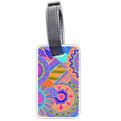 Pop Art Paisley Flowers Ornaments Multicolored 3 Luggage Tags (one Side)