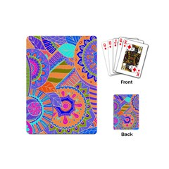 Pop Art Paisley Flowers Ornaments Multicolored 3 Playing Cards (mini)