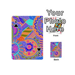 Pop Art Paisley Flowers Ornaments Multicolored 3 Playing Cards 54 (mini)