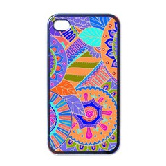 Pop Art Paisley Flowers Ornaments Multicolored 3 Apple Iphone 4 Case (black)