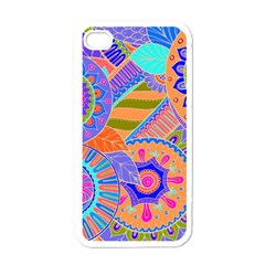 Pop Art Paisley Flowers Ornaments Multicolored 3 Apple Iphone 4 Case (white)