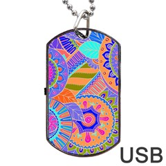 Pop Art Paisley Flowers Ornaments Multicolored 3 Dog Tag Usb Flash (two Sides)