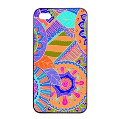 Pop Art Paisley Flowers Ornaments Multicolored 3 Apple Iphone 4/4s Seamless Case (black)