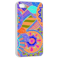 Pop Art Paisley Flowers Ornaments Multicolored 3 Apple Iphone 4/4s Seamless Case (white)