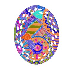 Pop Art Paisley Flowers Ornaments Multicolored 3 Ornament (oval Filigree)