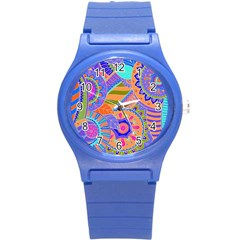 Pop Art Paisley Flowers Ornaments Multicolored 3 Round Plastic Sport Watch (s)
