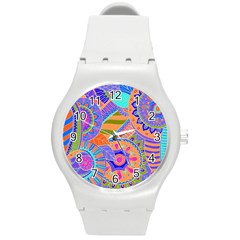 Pop Art Paisley Flowers Ornaments Multicolored 3 Round Plastic Sport Watch (m)