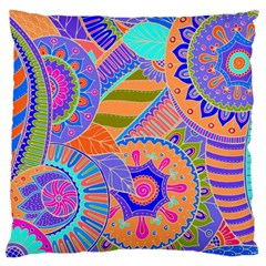 Pop Art Paisley Flowers Ornaments Multicolored 3 Large Cushion Case (one Side) by EDDArt