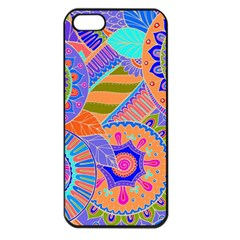 Pop Art Paisley Flowers Ornaments Multicolored 3 Apple Iphone 5 Seamless Case (black)