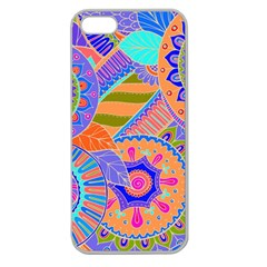 Pop Art Paisley Flowers Ornaments Multicolored 3 Apple Seamless Iphone 5 Case (clear)