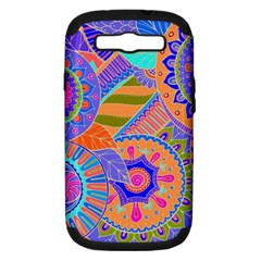 Pop Art Paisley Flowers Ornaments Multicolored 3 Samsung Galaxy S Iii Hardshell Case (pc+silicone)