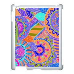 Pop Art Paisley Flowers Ornaments Multicolored 3 Apple Ipad 3/4 Case (white)