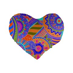 Pop Art Paisley Flowers Ornaments Multicolored 3 Standard 16  Premium Heart Shape Cushions