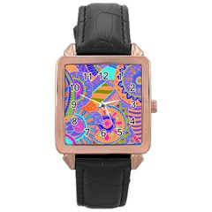 Pop Art Paisley Flowers Ornaments Multicolored 3 Rose Gold Leather Watch