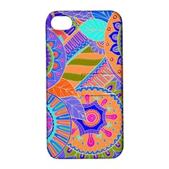 Pop Art Paisley Flowers Ornaments Multicolored 3 Apple Iphone 4/4s Hardshell Case With Stand