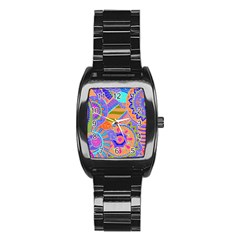 Pop Art Paisley Flowers Ornaments Multicolored 3 Stainless Steel Barrel Watch