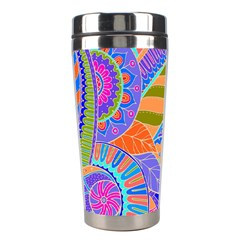 Pop Art Paisley Flowers Ornaments Multicolored 3 Stainless Steel Travel Tumblers
