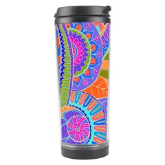 Pop Art Paisley Flowers Ornaments Multicolored 3 Travel Tumbler