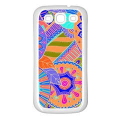 Pop Art Paisley Flowers Ornaments Multicolored 3 Samsung Galaxy S3 Back Case (white)