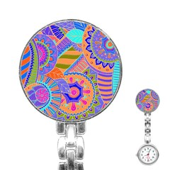 Pop Art Paisley Flowers Ornaments Multicolored 3 Stainless Steel Nurses Watch