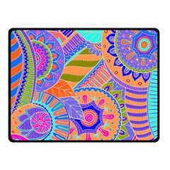 Pop Art Paisley Flowers Ornaments Multicolored 3 Double Sided Fleece Blanket (small)