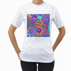 Pop Art Paisley Flowers Ornaments Multicolored 3 Women s T Shirt (white)