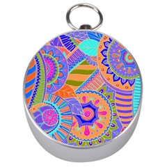 Pop Art Paisley Flowers Ornaments Multicolored 3 Silver Compasses