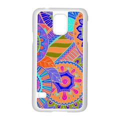 Pop Art Paisley Flowers Ornaments Multicolored 3 Samsung Galaxy S5 Case (white)