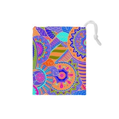 Pop Art Paisley Flowers Ornaments Multicolored 3 Drawstring Pouches (small)