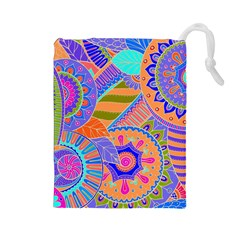 Pop Art Paisley Flowers Ornaments Multicolored 3 Drawstring Pouches (large)