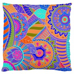 Pop Art Paisley Flowers Ornaments Multicolored 3 Large Flano Cushion Case (one Side)