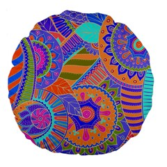 Pop Art Paisley Flowers Ornaments Multicolored 3 Large 18  Premium Flano Round Cushions