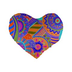 Pop Art Paisley Flowers Ornaments Multicolored 3 Standard 16  Premium Flano Heart Shape Cushions