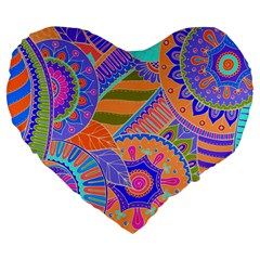 Pop Art Paisley Flowers Ornaments Multicolored 3 Large 19  Premium Flano Heart Shape Cushions